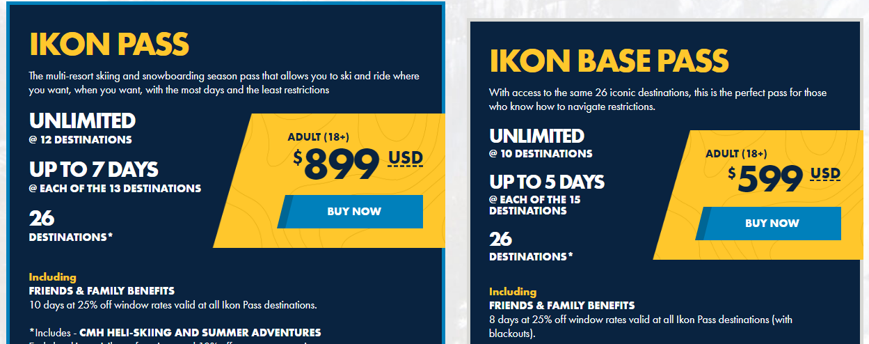 Ikon pass prices